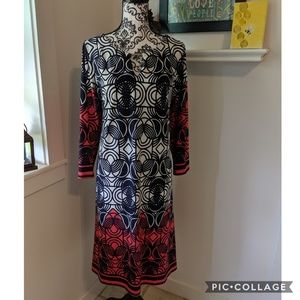 Haani Geometric Color Block Peek a Boo Dress 1X